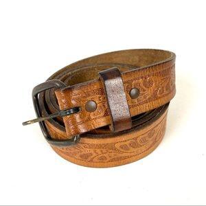 Vintage Belt Tooled Leather Brown Size XL